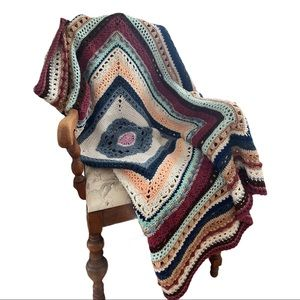 Afghan throw Granny Square crocheted pastel colors